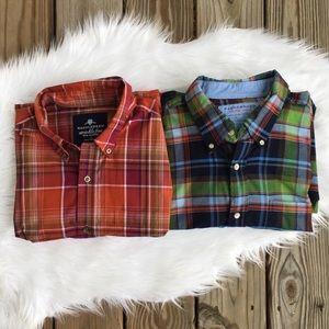 Men's Saddlebred Bundle Lot of Two Plaid Shirts